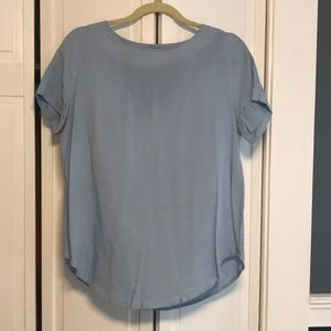Light blue women's blouse with keyhole back